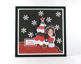 Christmas cards for girls, Holiday cards, handmade Christmas card, Girl's Christmas card, personalized cards, modern Christmas card