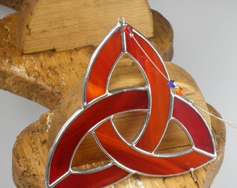 Red Stained glass Celtic Trinity Knot Suncatcher  & Window ornament