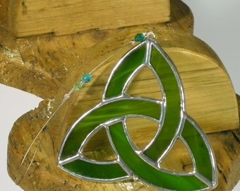 Small moss green Stained glass Celtic Trinity Knot Suncatcher  & Window ornament