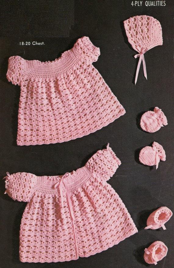 Vintage Crochet Baby Dress Pattern : Vintage Baby Crochet Pattern / Dress Matinee by ...