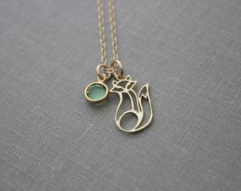 Golden Fox Charm Necklace -  Gold Vermeil Fox Charm with 14k gold filled chain - Foxy Lady - Swarovski crystal birthstone - Birthday Gift