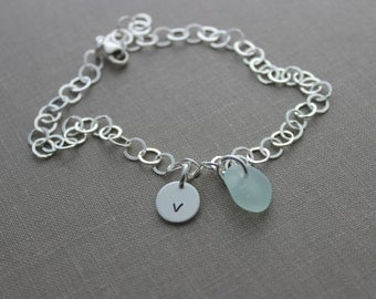 Sterling Silver initial and Genuine Sea Glass Bracelet, Personalized with Hand Stamped Initial Charm and choice of seaglass color