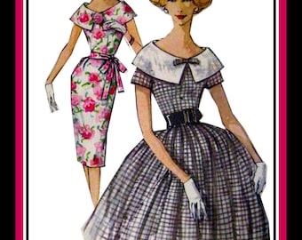 Vintage 1960s-GARDEN PARTY DRESS-Sewing Pattern-Two Styles-Portrait Collar-Wiggle Dress-Full Twirl Flirt Skirt-Uncut-Size 14-Rare