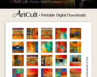 Digital Collage Sheet RAW ART 1x1 inch and 7/8x7/8 inch size printable images for square glass or resin pendants, magnets, bezel settings