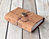 Tan Leather Journal with Ceramic Button Closure, Rustic Travel Diary