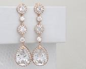 Long Bridal earrings, Rose gold bridal earrings, Rose gold wedding earrings, Bridal jewelry, Long crystal earrings, Teardrop earrings
