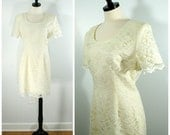 Vintage Cream Lace Dress,  White Lace Overlay Fitted Sheath Dress, Short Bridal Reception Cocktail Dress Size M