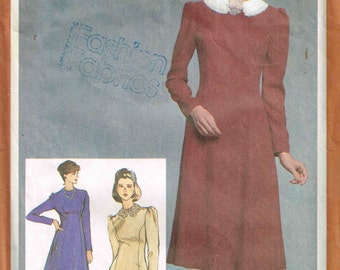 Detachable Peter Pan Collar Fitted Dress Jewel Neckline Simplicity 9727 Sewing Pattern Vintage 1980s Misses Size 10 Bust 32.5