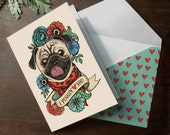 """Funny Printable Pug """" I Puggin' Love You """" valentine's day or anniversary romantic love card with coordinating printable envelope valentine"""