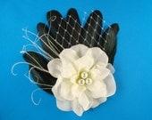 Black and white wedding hair clip bridal fascinator fancy party hair barrette white flower hair clip bridal hair piece black tie wedding