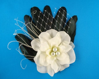 Black and white wedding hair clip bridal fascinator fancy party hair barrette white flower hair clip bridal hair piece black tie wedding