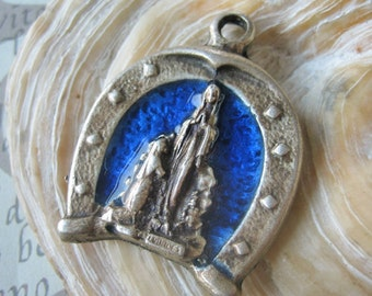 Antique horse shoe medal, Antique religious medal, Blue enameled medal, antique lucky charm, Antique holy Mary charm, horse shoe pendant