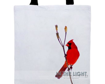 Cardinal in Snow #2 - Fine Art Photography Tote Bag
