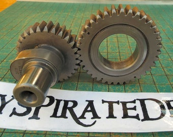 2 Iron Gears, with camshaft, industrial paperweight, Harley Sportster engine part, great for found art, metal sculpture, biker man cave
