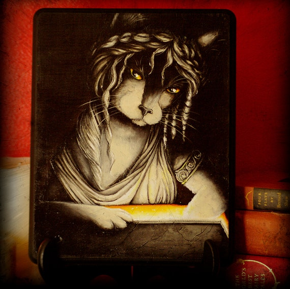 Pandora Box Cat Art Greek Myth Original Acrylic Painting on Wood Plaque