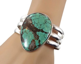 Turquoise Bracelet, Sterling Silver, Cuff Bracelet, Unique Stone, Vintage Bracelet, Green, Big Statement, Boho Bohemian, 925, Heavy Silver