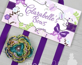 HAIR BOW HOLDER - Personalized Purple Butterfly Garden HairBow Holder - Bows Clippies Organizer - Girls Personal Hair Bow Clip Holder Hb0018
