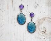Blue & Purple petal dangle earrings - Bloom Collection by BeautySpot (E151)