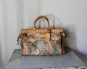 vintage leather and tapestry weekender bag / large tapestry tote bag