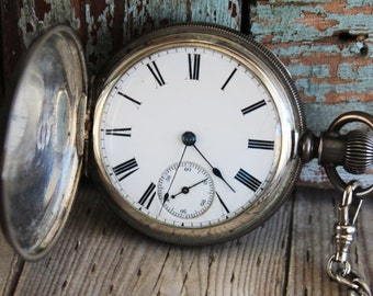 Antique American Waltham Hunter Case Pocket Watch with Silver Fob by avintageobsession on etsy