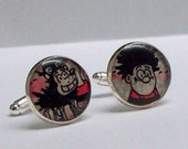 Dennis the Menace and Rasher Beano comic, recycled into Silver Plated Cuff Links, comic book cufflinks