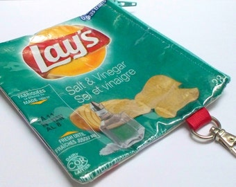 Key Ring Change Purse -  UPCYCLED from Lays potato chip wrapper RePurposed into a usable keyring purse