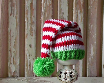 Newborn Elf Hat, Christmas Baby Hat, Crochet Baby Christmas Hat, Lime Green & Red, Baby Shower Gift