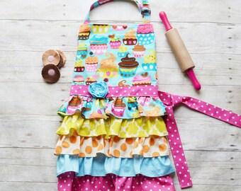 Cupcakes--- little girl full ruffle apron