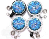 Retractable Badge Reel - Blue Flower Kaleidoscope Lanyard ID Holder Personalized with Name, Monogram, Occupation Title (A034)