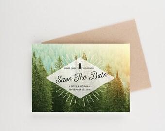 Woodland Wedding Save The Date, Rustic Pine Trees Boho, Bridal Shower, Wedding Invitation