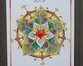 Lopez Island Farmer's Market 2015 Original Art Poster, vegetable mandala