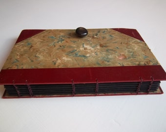 Photo Album handbound with acid-free black pages & pocket, small photo album, antique upcycled cover, vintage button