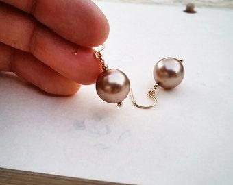 Soft champagne pink glass pearl earrings