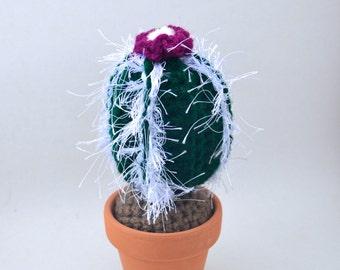 dark green and purple amigurumi crochet fuzzy cactus plant