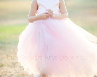 NEW! The Juliet Dress in Light Pink with Rhinestone Sash - Flower Girl Tutu Dress