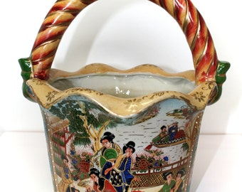 Basket Jardiniere, Vase or Planter, Pottery Basket, Scalloped Vase, Raised Enamels, Ivory Tint, Crackle Glaze Crazing, Gold Gilding, Geisha
