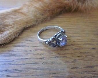 Ornate Sterling Silver and Light Amethyst ring sz. 8.5