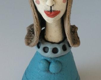 FeMALE SCULPTURE,  Handmade, Sculpted Figure, Porcelain figure, Clay People, Clay Sculpture