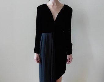 Valentino Boutique Black Asymmetrical Silk Velvet and Crepe Evening Dress