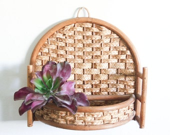 Vintage Bamboo Wall Shelf / Boho Decor