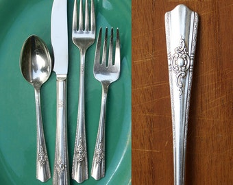 Vintage Silver Plate Flatware Place Setting / 1940's Maytime Pattern / Wedding Silverware