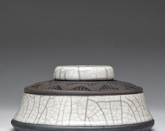 Small Ceramic raku vessel,Lidded Jar, white and black, Home Decor, impressed design, hand made, one of a kind