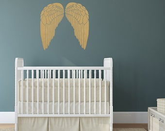 Metallic Angel Wing Vinyl Wall Decals, Removable
