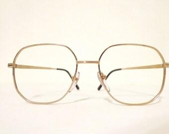 HUGE NOS Metal Aviator Goldtone Mod ROUnd SquAre Aviator Eyeglasses Larger Glasses Metal Sunglasses Never Used Boho Festival Panto Designer