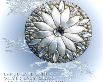 Button--Lovely Bright Silvery 19th C. Lacy Glass Sunflower Almost Large
