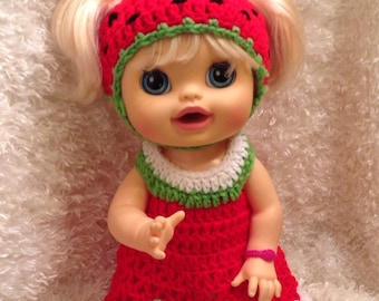 16 inch Doll Clothes.Strawberry  Dress Set