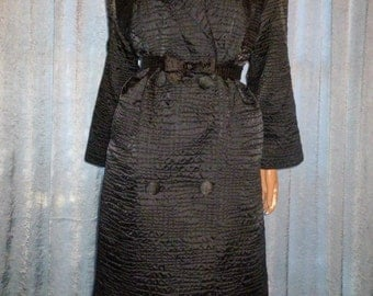The Little BLACK Jacket - Vintage 50's - Paka Rain Traveler - Black - Satin - Alligator Embossed - Trench - Spy - Swing Coat - bust 44""