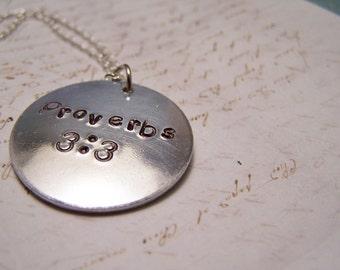 Proverbs 3:3 Necklace. Bible Verse Necklace