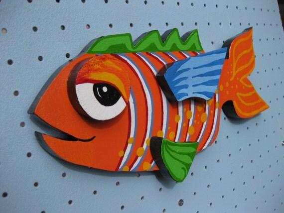 Wood Fish Hand Painted Orange Green Blue Cute Deck Patio