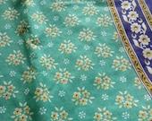 Sheer Cotton Fabric, Floral Block Print, Cotton Saree Fabric,Turquoise Blue Cotton,Lightweight Cotton, Belly Dance Fabric, Soft Cotton Saree